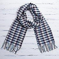 Men's 100% alpaca scarf, 'Andean Style' - 100% alpaca scarf