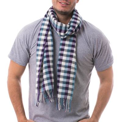 Men's 100% alpaca scarf, 'Andean Style' - Mens Handwoven Purple and Turquoise Alpaca Scarf with White