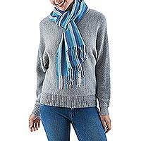 100% alpaca scarf, 'Huascaran Sky' - 100% alpaca scarf