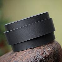 Leather wristband bracelet, 'Sporty Black' - Leather wristband bracelet