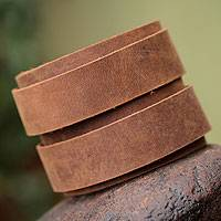Men's leather wristband bracelet, 'Modern Brown Duo' - Men's Handcrafted Leather Bracelet