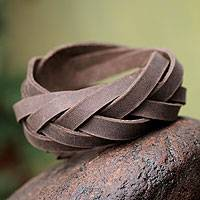Leather wristband bracelet, 'Andean Braid' - Leather wristband bracelet