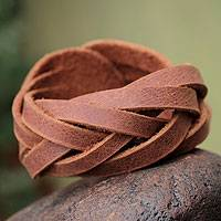 Leather wristband bracelet, 'Brown Andean Braid' - Leather wristband bracelet
