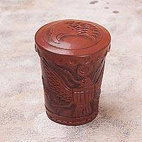 Leather dice cup and dice set, 'American Patriot' - Leather dice cup and dice set