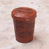 Leather dice cup and dice set, 'Nazca Spider'