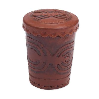 Leather dice cup and dice set, 'Nazca Spider' - Leather dice cup and dice set