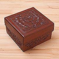 Leather and mohena wood jewelry box, 'Memories' - Leather and mohena wood jewelry box