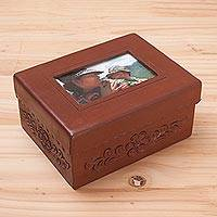 Leather and mohena wood photo frame box, 'Sweet Memories' - Leather and Mohena Wood Jewelry Box with Photo Frame Lid