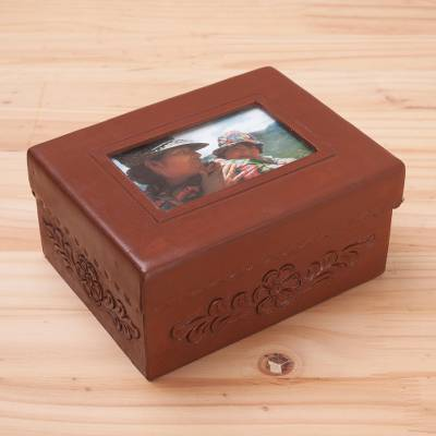 Leather And Mohena Wood Jewelry Box With Photo Frame Lid Sweet
