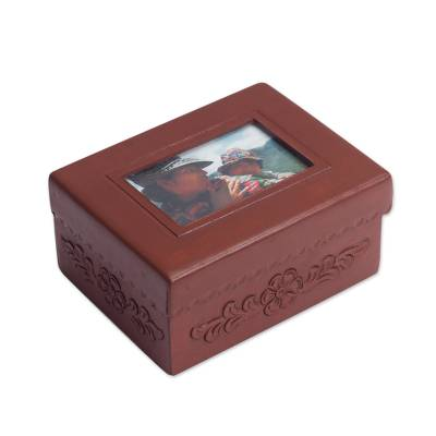 Unicef Uk Market Leather And Mohena Wood Jewellery Box With Photo