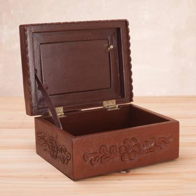 Unicef Market Leather And Mohena Wood Jewelry Box With Photo Frame