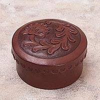 Leather box, 'Andean Thistle' - Tooled Leather Decorative Box from Peru