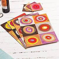 Wood placemats and coasters, 'Color Cycles' (set of 4) - Modern Placemats and Coasters (Set of 4)