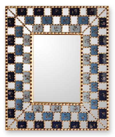 Reverse painted glass mirror, 'Flourishing Blue Infinite' - Reverse painted glass mirror