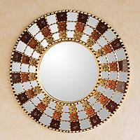 Reverse painted glass mirror, 'Solar Red Infinite' - Reverse painted glass mirror
