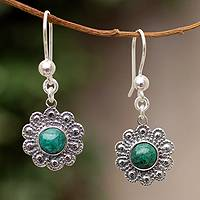 Chrysocolla flower earrings, 'Nocturnal Peace Blossom' - Chrysocolla flower earrings
