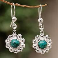 Chrysocolla flower earrings, 'Morning Peace Blossom' - Chrysocolla flower earrings