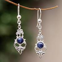 Sodalite dangle earrings, 'Inner Elegance' - Sodalite dangle earrings