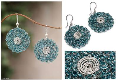 Sterling silver floral earrings, 'Turquoise Blooms' - Sterling silver floral earrings