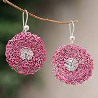 Sterling silver floral earrings, 'Fuchsia Blooms' - Sterling silver floral earrings