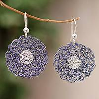 Sterling silver floral earrings, 'Indigo Blooms' - Sterling silver floral earrings
