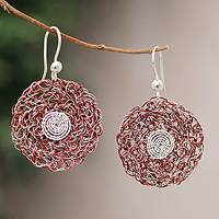 Sterling silver floral earrings, 'Scarlet Blooms' - Sterling silver floral earrings
