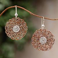 Sterling silver floral earrings, 'Orange Blooms' - Sterling silver floral earrings