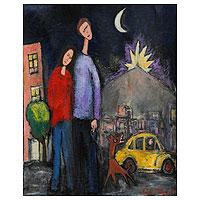 'A Walk Under the Moonlight' - Naif Painting