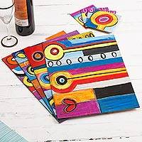 Placemats and coasters, 'Hearts and Flowers' (set for 4) - Placemats and coasters (Set for 4)