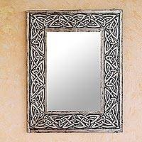 Leather mirror, 'Continuity' - Leather mirror
