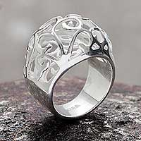 Silver dome ring, 'Floral Encounters' - Silver dome ring