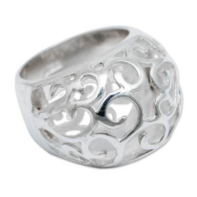 Sterling silver dome ring, 'Floral Encounters' - Sterling Silver dome ring