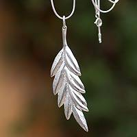 Sterling silver pendant necklace, 'Drifting Leaf' - Silver pendant necklace