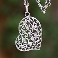 Silver heart necklace, 'Blossoming Love' - Silver heart necklace