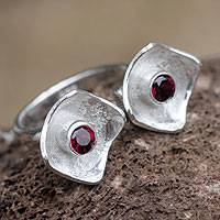 Garnet wrap ring, 'Fountain' - Garnet wrap ring