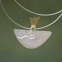 Gold accent peridot pendant necklace, 'Dreamboat' - Gold accent peridot pendant necklace