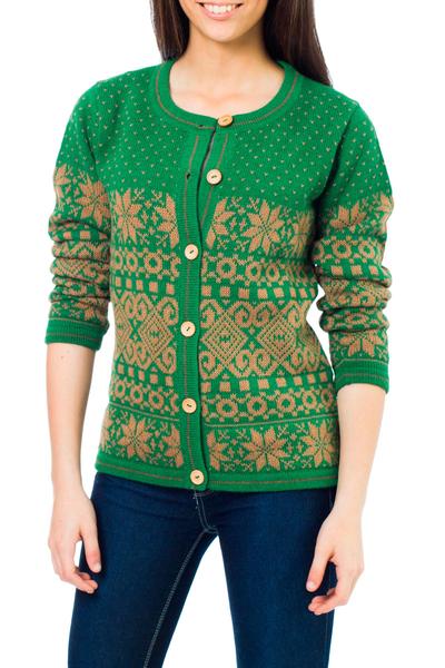 100% alpaca cardigan, 'Nutmeg Flowers' - Alpaca Wool Knit Cardigan