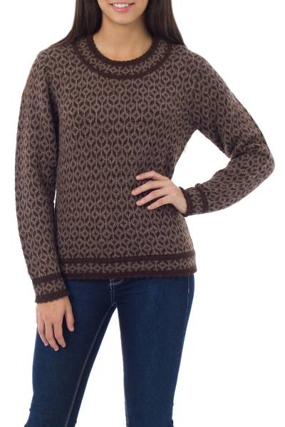 Women's 100% alpaca sweater, 'Snowflake Encounter' - Women's 100% alpaca sweater