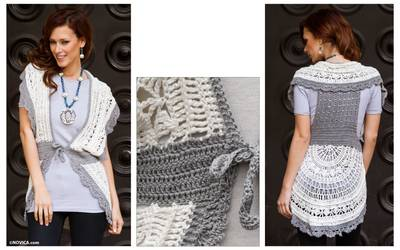 Crocheted pima cotton vest, 'Arequipa Femme' - Hand-crocheted Pima Cotton Vest Top from Peru