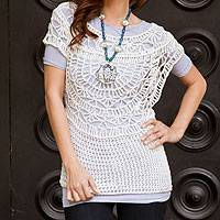Pima cotton top, 'Arequipa White' - White Pima Cotton Top Crocheted by Hand in Peru