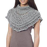 Alpaca blend neck warmer, 'Andean Mists' - Gray Alpaca Blend Neck Warmer Crocheted by Hand in Peru
