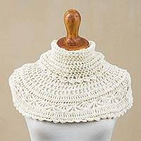100% alpaca capelet, 'Irresistible Arequipa' - Hand-crocheted Alpaca Capelet from Peru