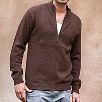 Men's 100% alpaca cardigan, 'Modern Brown'