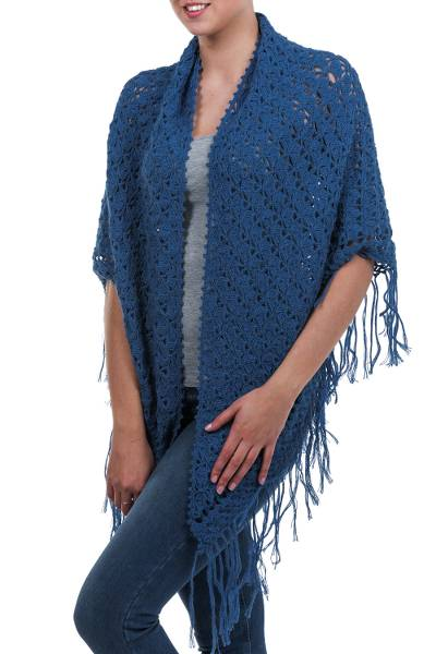 100% alpaca shawl, 'Arequipa Sky' - Unique Alpaca Wool Shawl