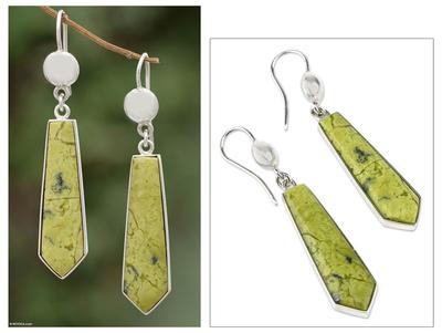 Serpentine dangle earrings, 'Mystic Peace' - Handcrafted Sterling Silver Dangle Serpentine Earrings