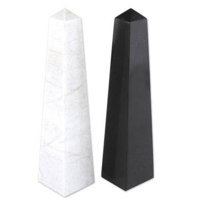 Onyx obelisks, 'Day and Night' (pair) - Geometric Onyx Obelisk Sculptures Pair of 2
