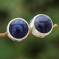 Sodalite stud earrings, 'Sweet Spot' - Sodalite stud earrings