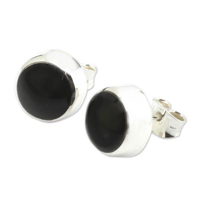 Handcrafted Modern Sterling Silver Stud Obsidian Earrings