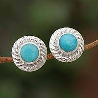 Amazonite stud earrings, 'Heavenly Halo' - Amazonite stud earrings