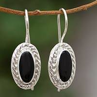 Obsidian drop earrings, 'Dark Water' - Obsidian drop earrings